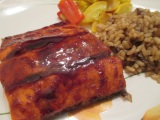Sockeye salmon with mustard balsamic glaze